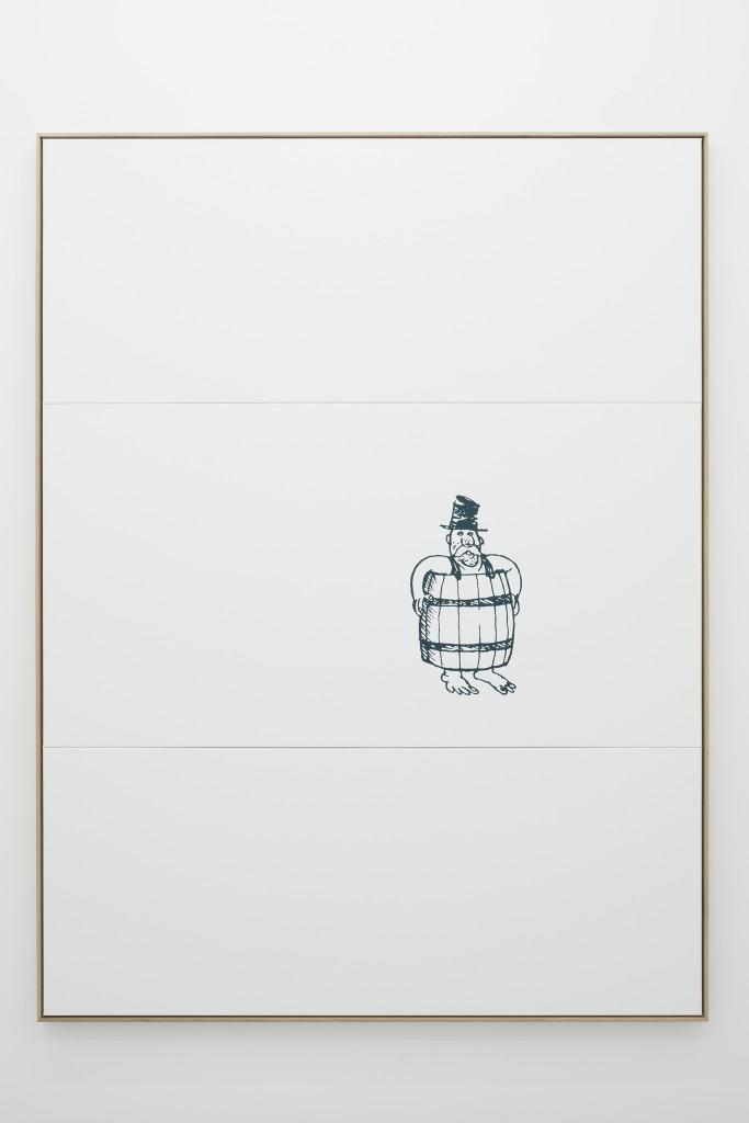 Oliver Osborne, Untitled (Barrel), 2015, Silkscreen on linen, oak frame