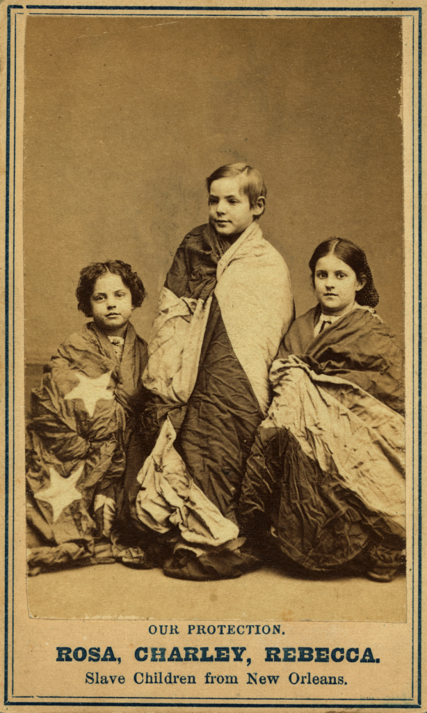 """Rebecca, Charley & Rosa, slave children from New Orleans"", c. 1864, by Charles Paxson,"
