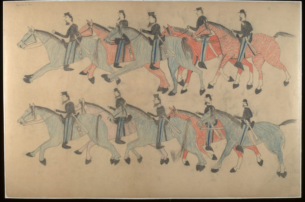 Red Horse (Minneconjou Lakota Sioux, 1822-1907), Untitled from the Red Horse Pictographic Account of the Battle of the Little Bighorn, 1881. Graphite, colored pencil, and ink. NAA MS 2367A, 08568000. National Anthropological Archives, Smithsonian Institution