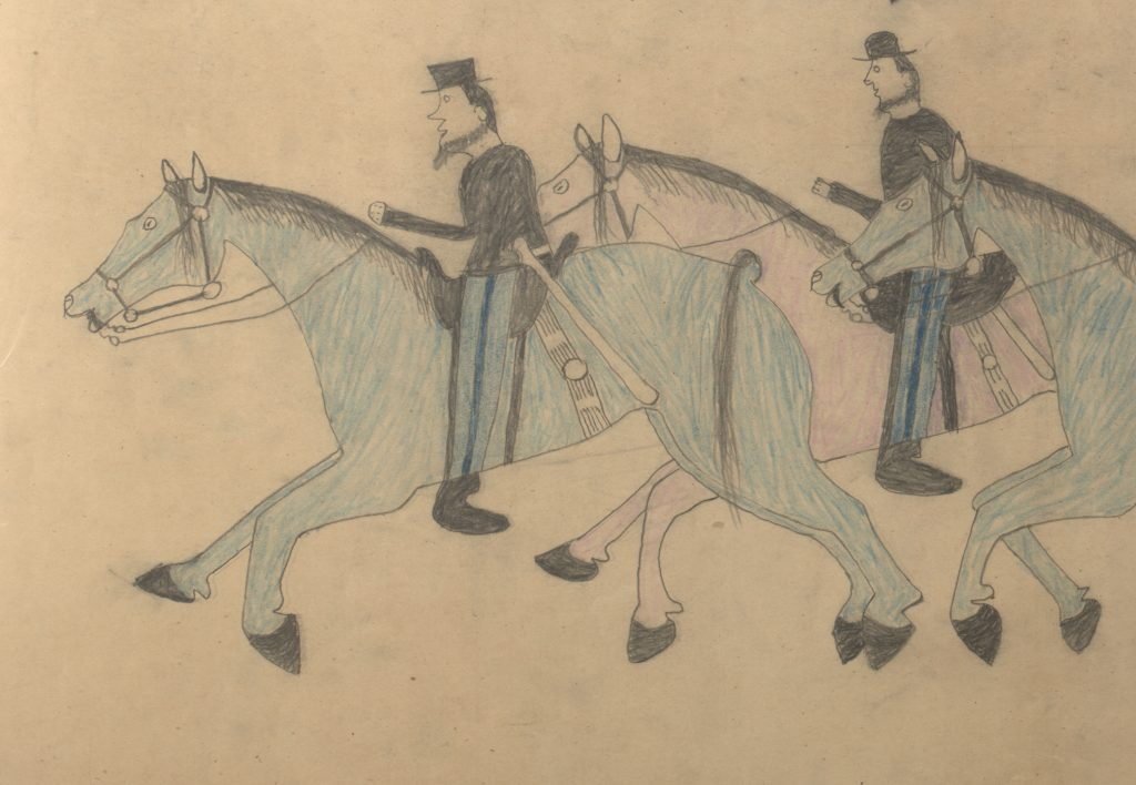 Red Horse (Minneconjou Lakota Sioux, 1822-1907), Untitled from the Red Horse Pictographic Account of the Battle of the Little Bighorn (detail), 1881. Graphite, colored pencil, and ink. NAA MS 2367A, 08568000 National Anthropological Archives, Smithsonian Institution