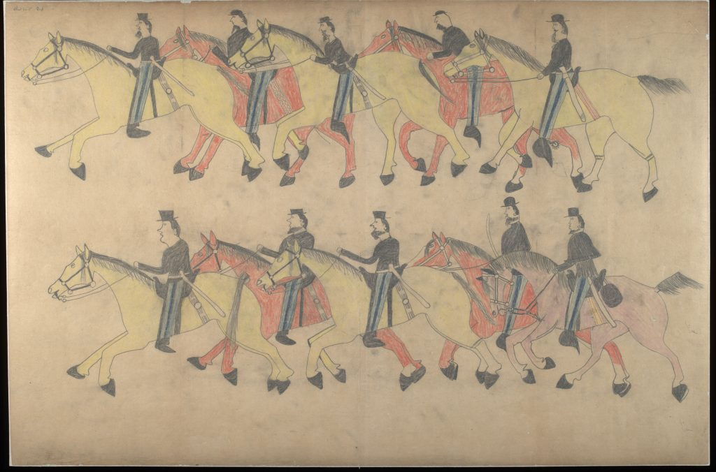 Red Horse (Minneconjou Lakota Sioux, 1822-1907), Untitled from the Red Horse Pictographic Account of the Battle of the Little Bighorn, 1881. Graphite, colored pencil, and ink. NAA 2367A_08568300. National Anthropological Archives, Smithsonian Institution