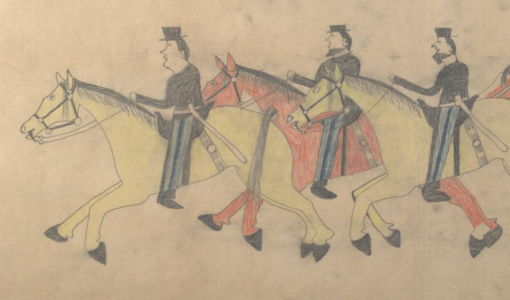 Red Horse (Minneconjou Lakota Sioux, 1822-1907), Untitled from the Red Horse Pictographic Account of the Battle of the Little Bighorn (detail), 1881. Graphite, colored pencil, and ink. NAA MS 2367A, 08568300 National Anthropological Archives, Smithsonian Institution