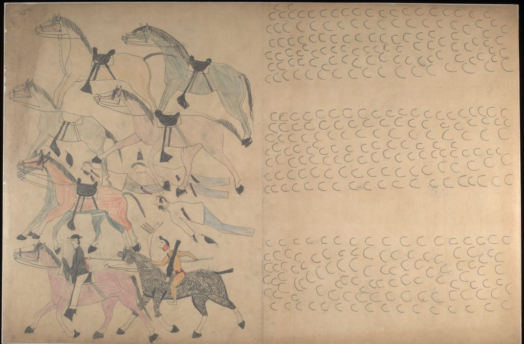 Red Horse (Minneconjou Lakota Sioux, 1822-1907), Untitled from the Red Horse Pictographic Account of the Battle of the Little Bighorn, 1881. Graphite, colored pencil, and ink. NAA MS 2367A_08569000. National Anthropological Archives, Smithsonian Institution