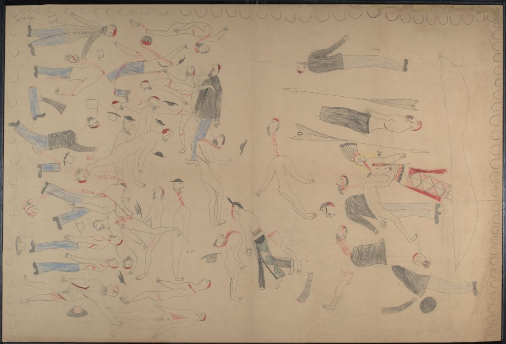 Red Horse (Minneconjou Lakota Sioux, 1822-1907), Untitled from the Red Horse Pictographic Account of the Battle of the Little Bighorn, 1881. Graphite, colored pencil, and ink. NAA MS 2367A_08570400. National Anthropological Archives, Smithsonian Institution