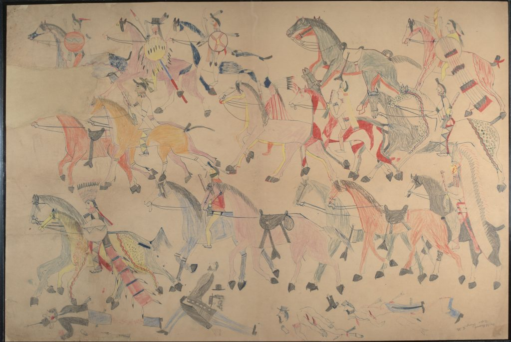 Red Horse (Minneconjou Lakota Sioux, 1822-1907), Untitled from the Red Horse Pictographic Account of the Battle of the Little Bighorn, 1881. Graphite, colored pencil, and ink. NAA MS 2367A_08570700. National Anthropological Archives, Smithsonian Institution