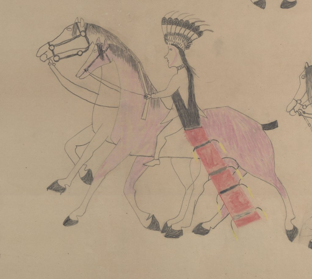 Red Horse (Minneconjou Lakota Sioux, 1822-1907), Untitled from the Red Horse Pictographic Account of the Battle of the Little Bighorn (detail), 1881. Graphite, colored pencil, and ink. NAA MS 2367A, 08571100 National Anthropological Archives, Smithsonian Institution